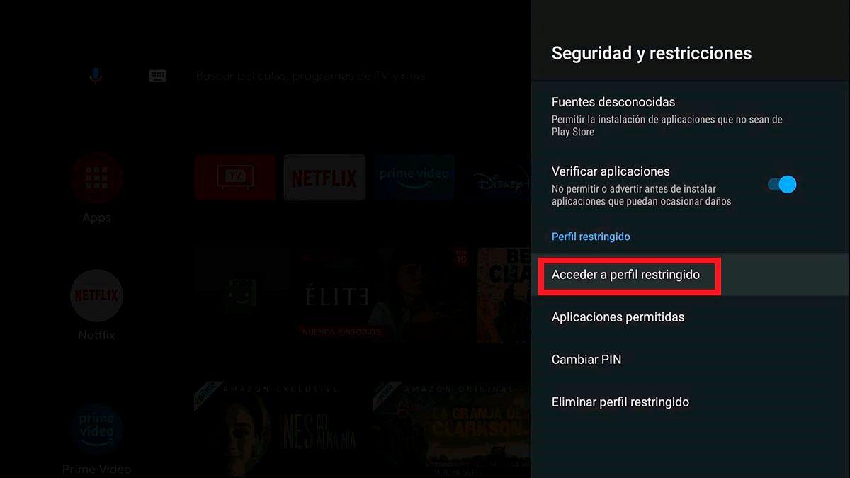 Activar perfil restringido Android TV