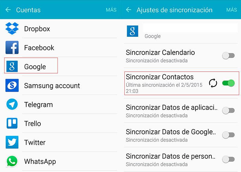 Activar sincronización contactos de Google