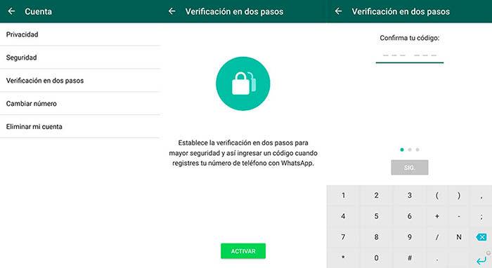 Activar verificacion 2 pasos WhatsApp