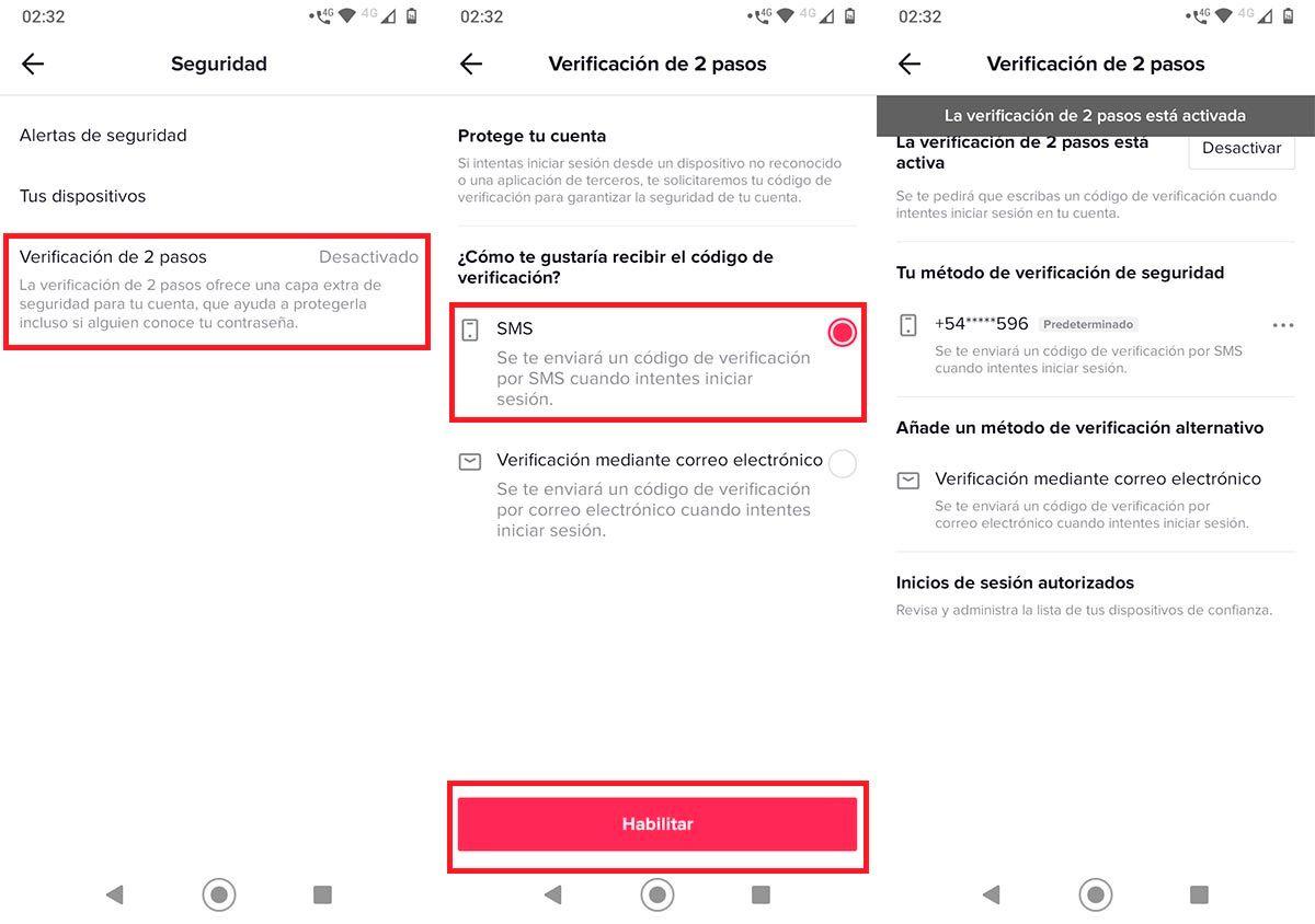 Activar verificacion de 2 pasos TikTok