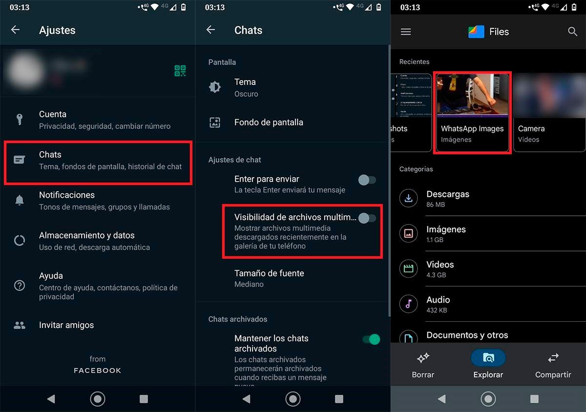 Activar visibilidad de archivos multimedia WhatsApp