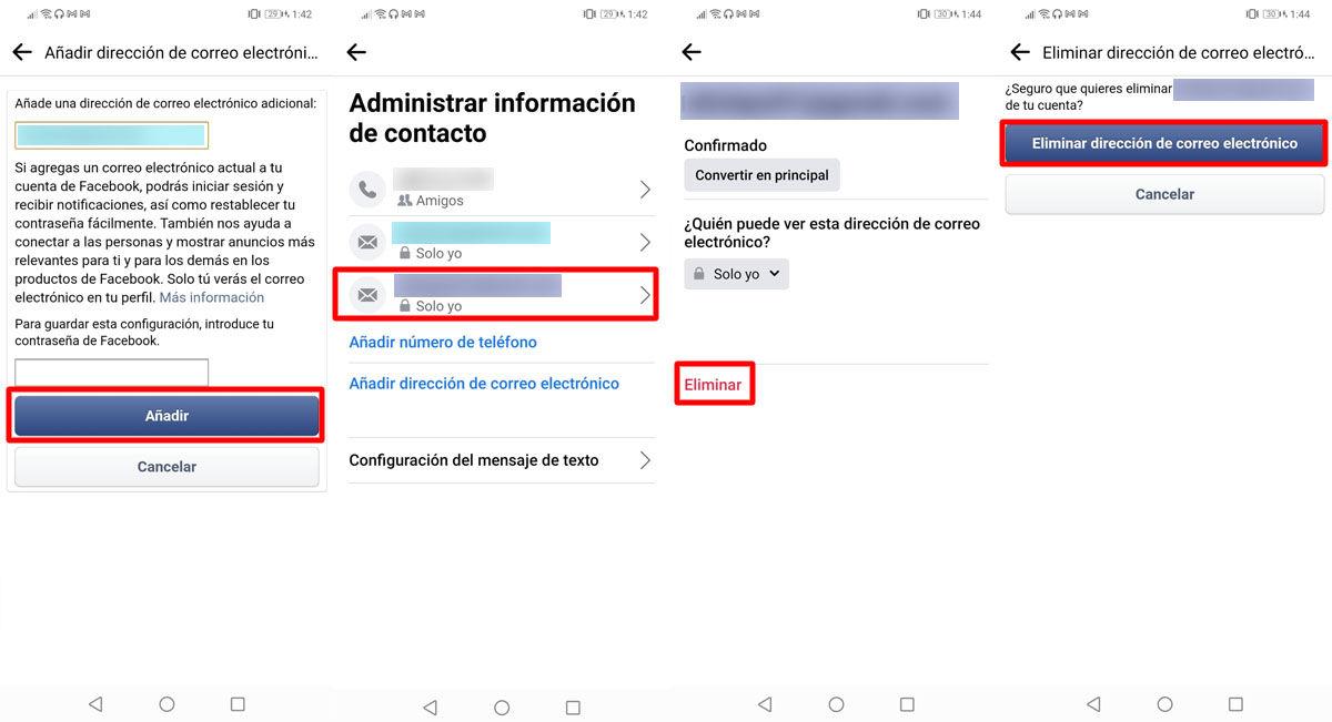 Actualiza tu dirección de correo electrónico o email de Facebook desde tu smartphone