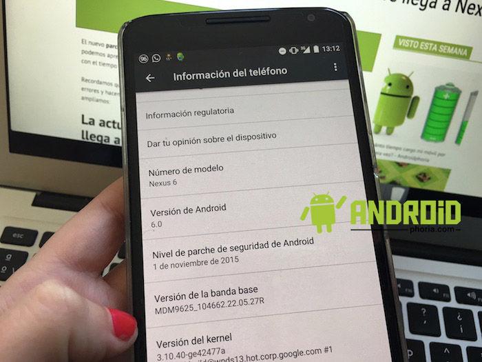 Actualización de seguridad de noviembre llega a Nexus 6