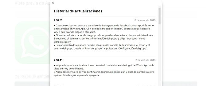 Actualizaciones WhatsApp mayo