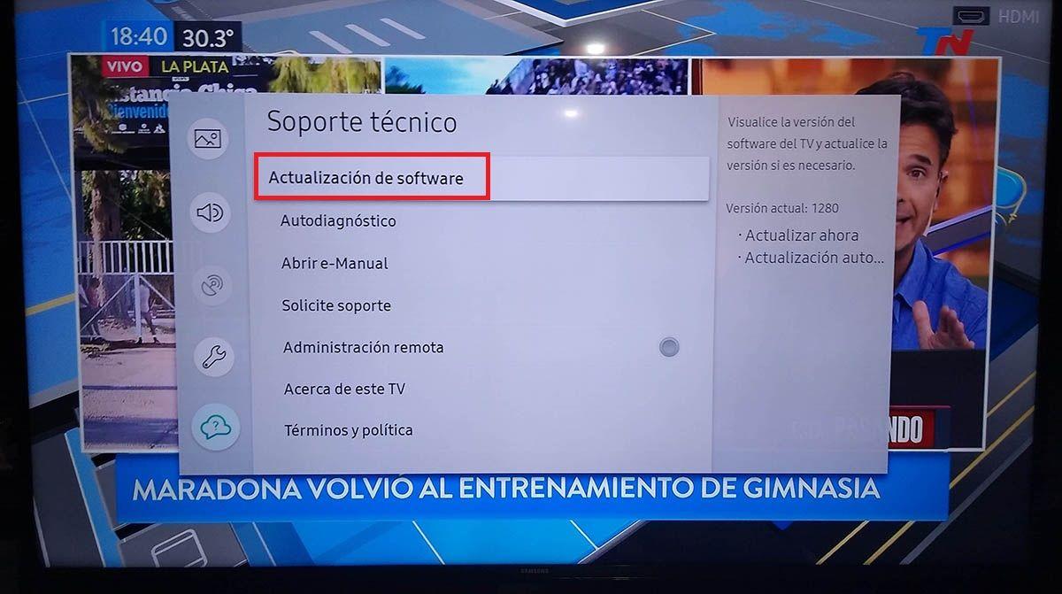 Actualizar Smart TV Samsung tutorial paso 4