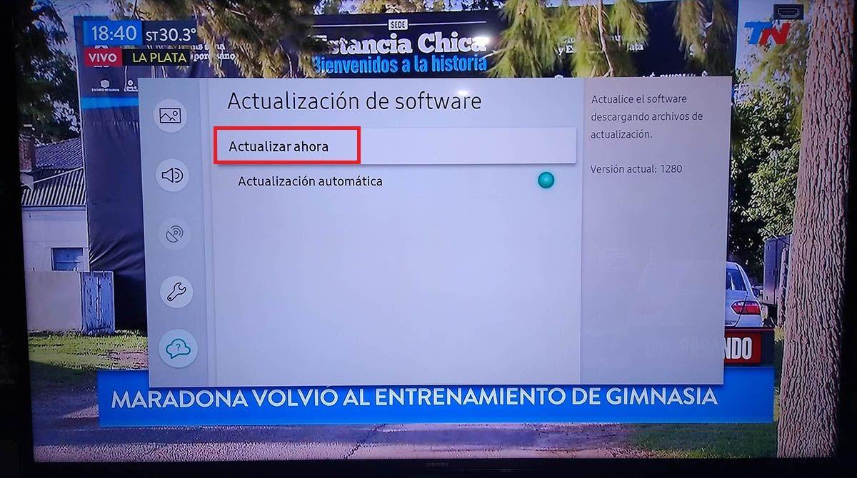 Actualizar Smart TV Samsung tutorial paso 5