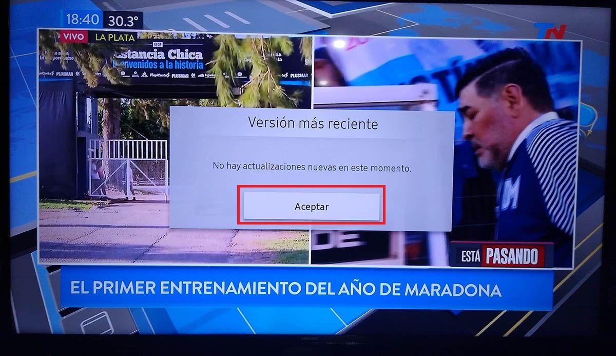 Actualizar Smart TV Samsung tutorial paso 7