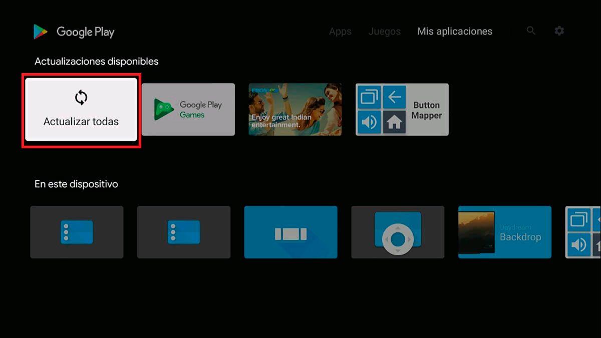Actualizar aplicaciones Android TV