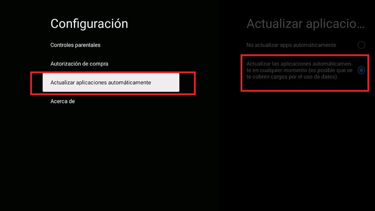 Actualizar aplicaciones automaticamente Android TV
