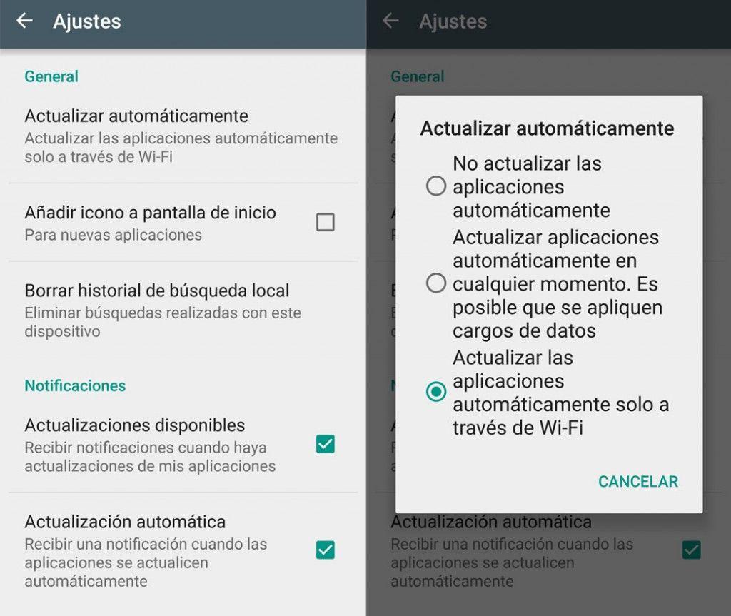 Actualizar aplicaciones por WiFi en Google Play