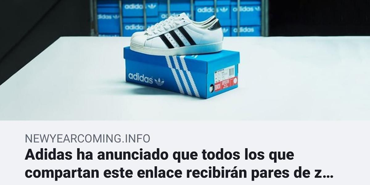 Adidas no esta regalando zapatillas en Facebook, es una estafa