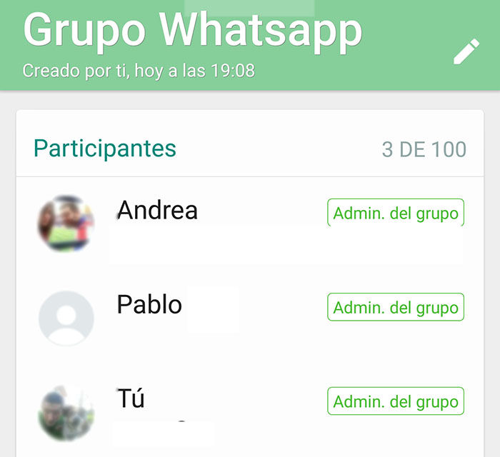 Administradores de grupo WhatsApp