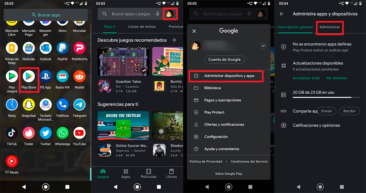 Administrar apps en Google Play Store