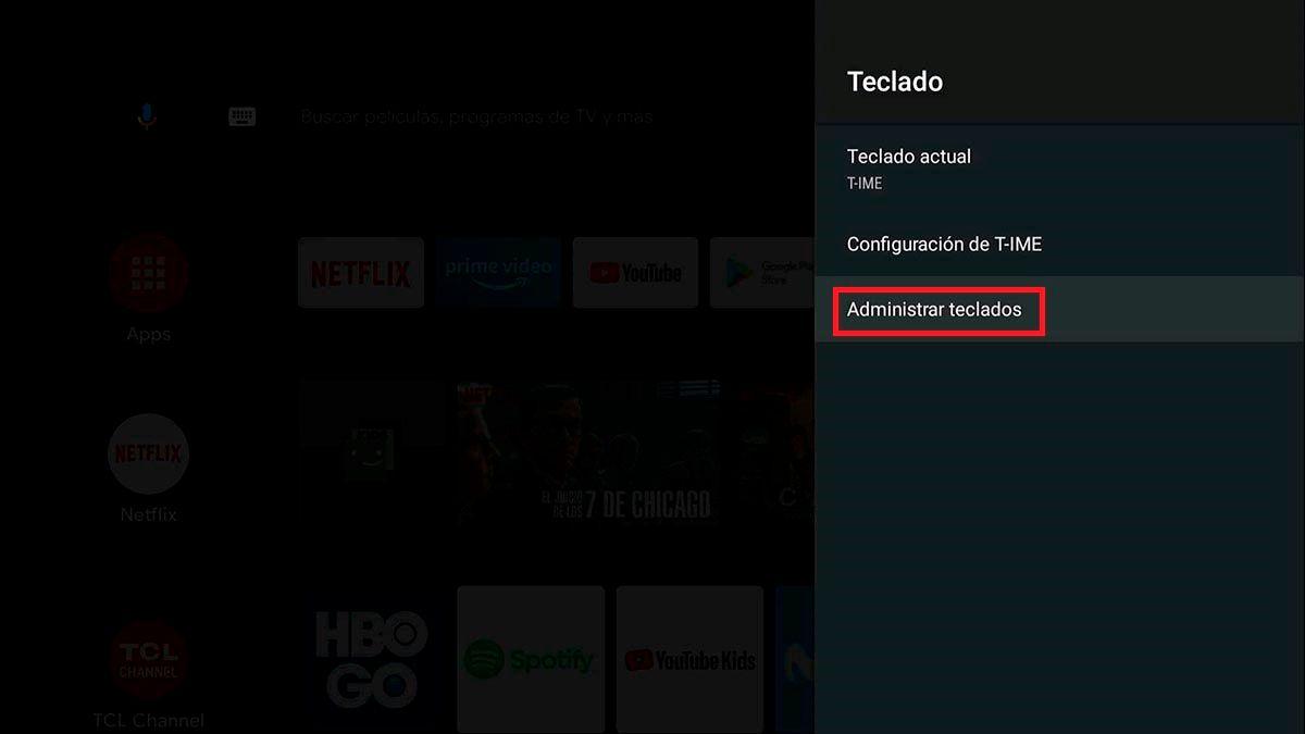 Administrar teclados Android™ TV