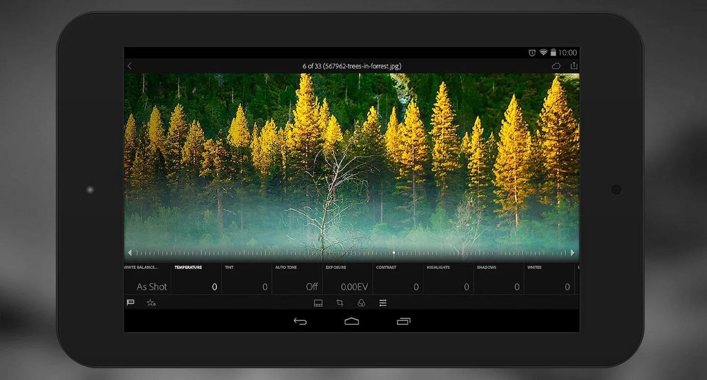 Adobe Lightroom Mobile para tablets