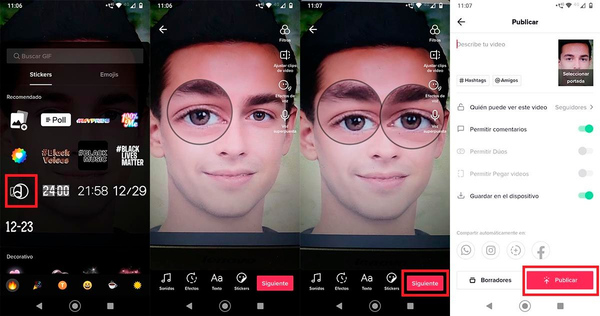 Agrandar ojos en TikTok sticker