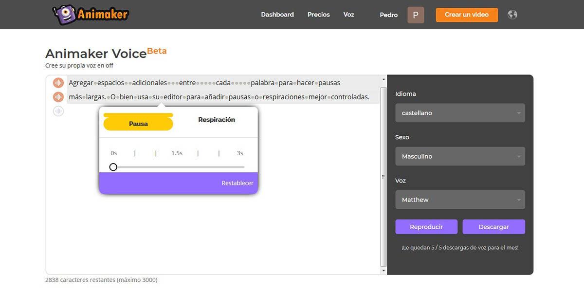Agrega pausas en Animaker Voice con espacios o el editor