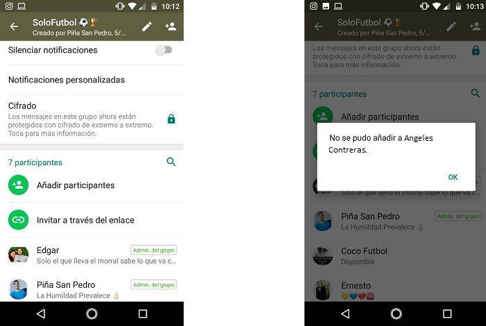 Agregar contactos a un grupo de WhatsApp