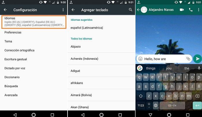 Agregar idiomas en teclado de Google