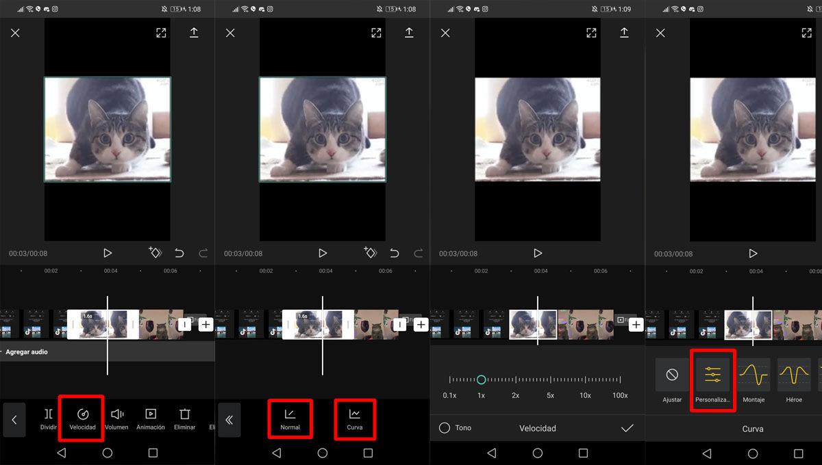 Ajustar la velocidad de los vídeo edits de CapCut para TikTok