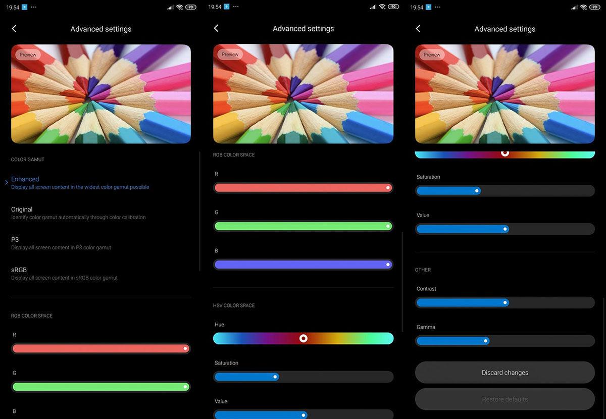 Ajustes avanzados calibracion monitor Xiaomi™ MIUI™ 11