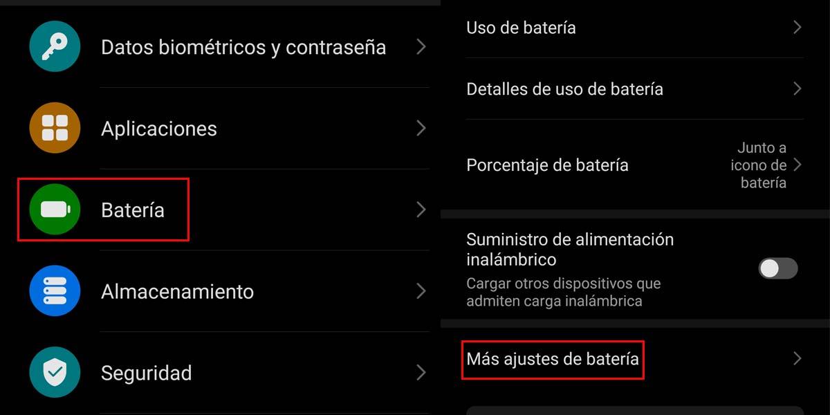 Ajustes de la batería en el Huawei™ P40 Pro