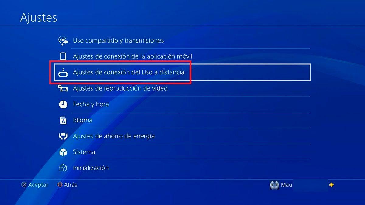 Ajustes de conexion a distancia PS5