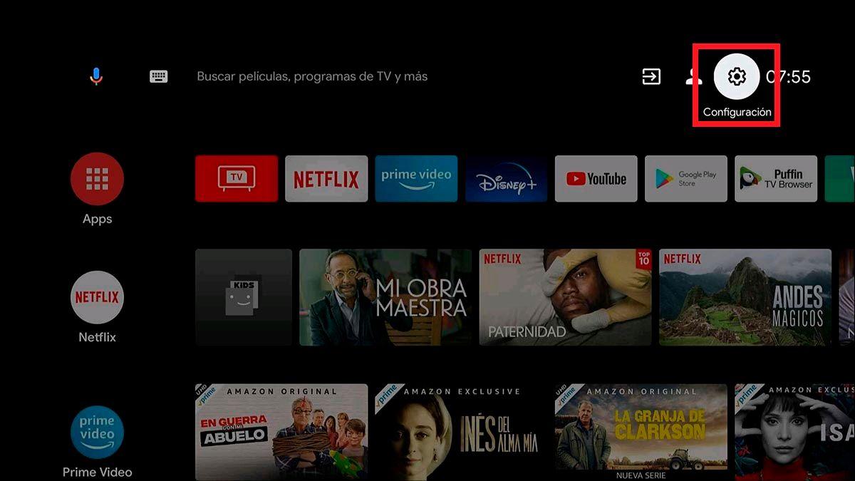 Ajustes del Android TV