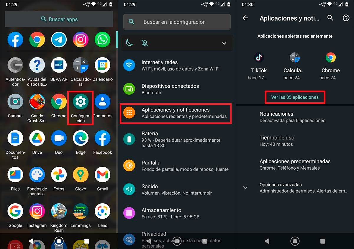 Ajustes dispositivo movil Android
