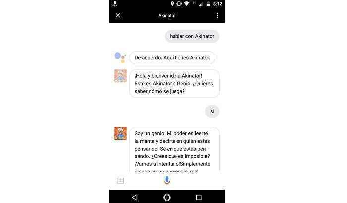 Akinator en Google Assistant