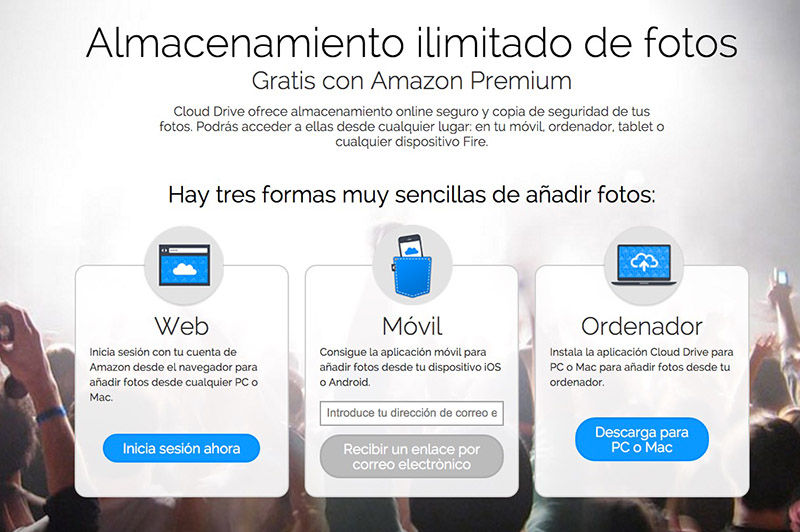 Almacenamiento ilimitado Amazon Premium Fotos