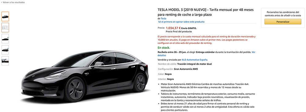 Alquilar Tesla Amazon