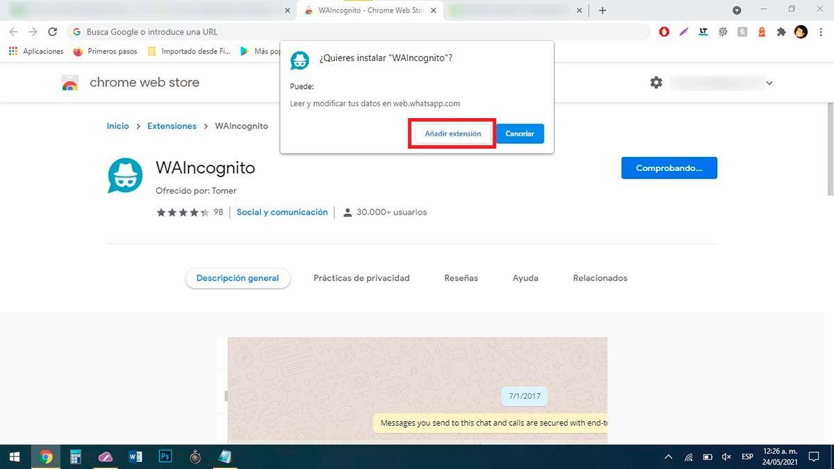 Anadir extension en Chrome