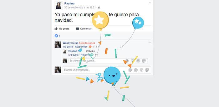 Animacion de la palabra felicitaciones de Facebook