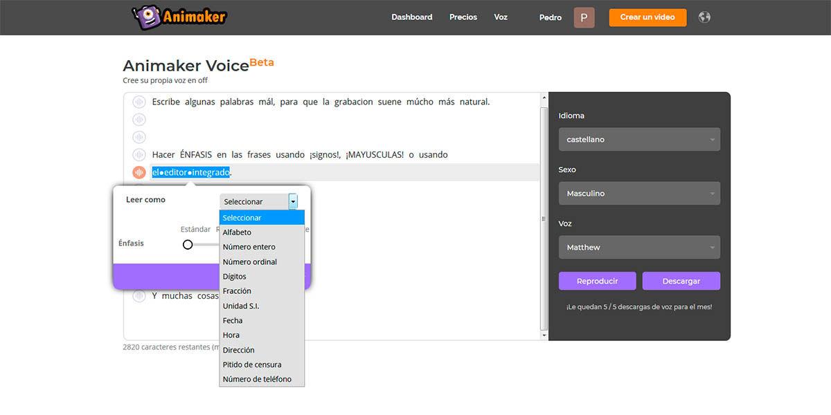 Animaker Voice permite hacer énfasis en las palabras y leer numeros, fechas y unidades