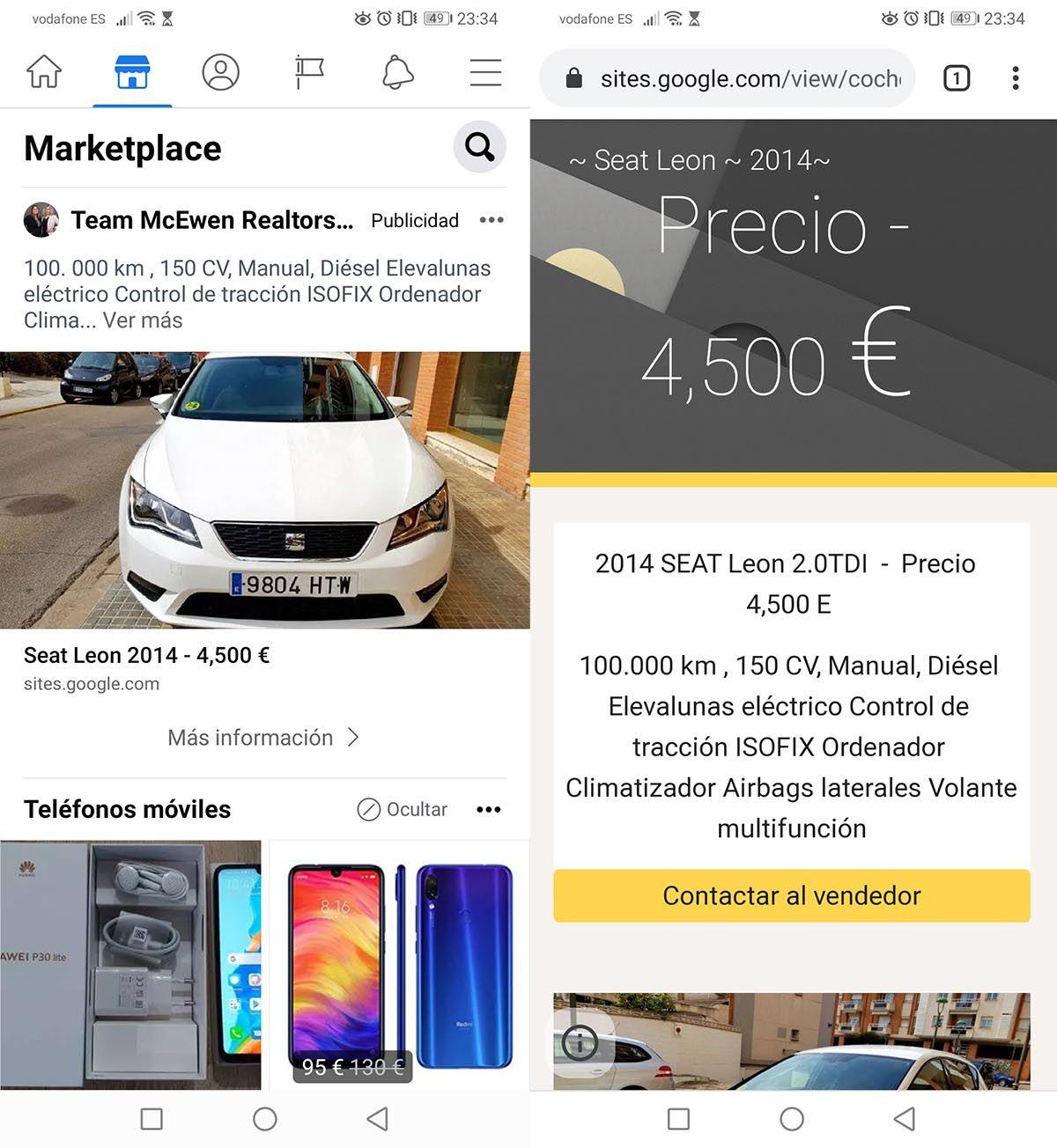 Anuncio falso del coche en Facebook