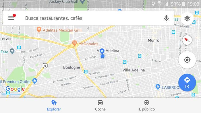 Aparcar coche en Google Maps