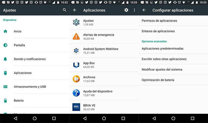 Apartado de aplicaciones predeterminadas en el Moto G4 Play