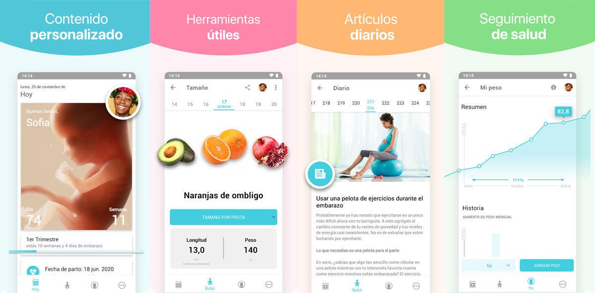 Aplicación Android que funciona como planificador de tu embarazo