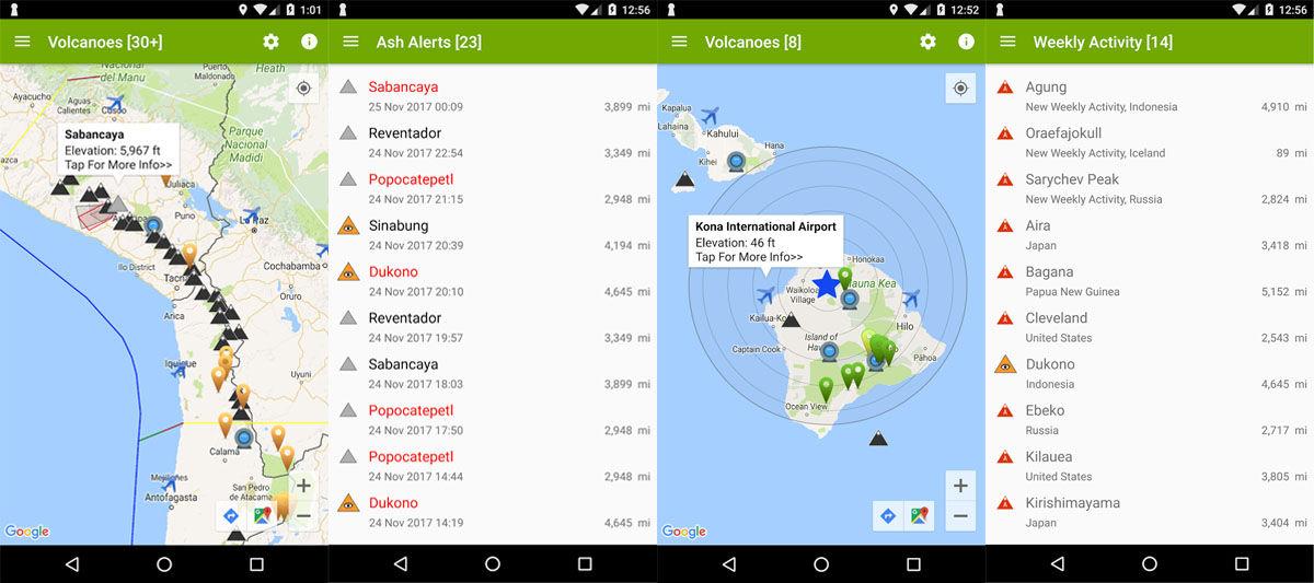 Aplicación de Android de detección de terremotos, volcanes y nubes de ceniza y humo