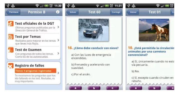 Aplicación para hacer test de conducir en Android