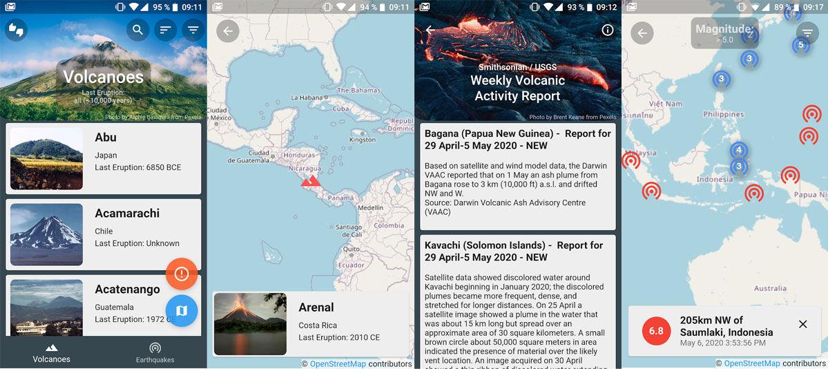 Aplicaciones de Android que registran la actividad volcánica y erupciones recientes