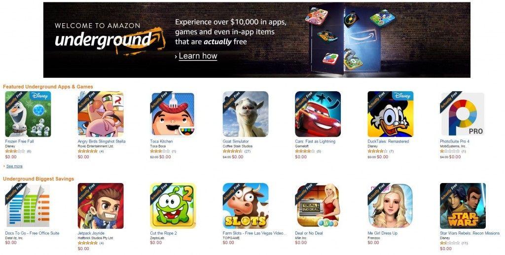 Aplicaciones gratis en Amazon Underground