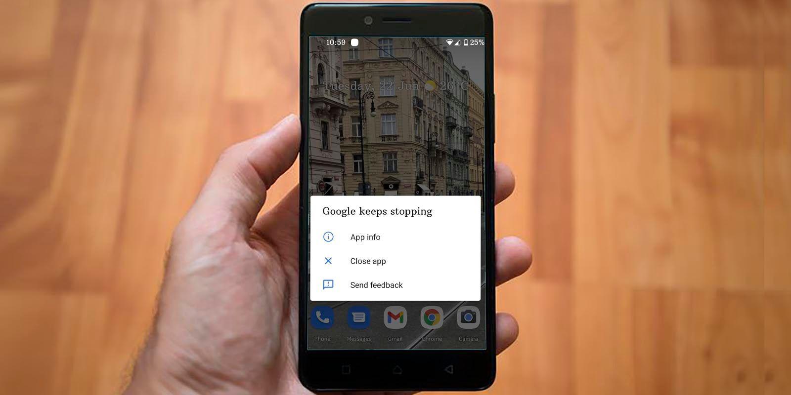 App Google se cierra sola solucion