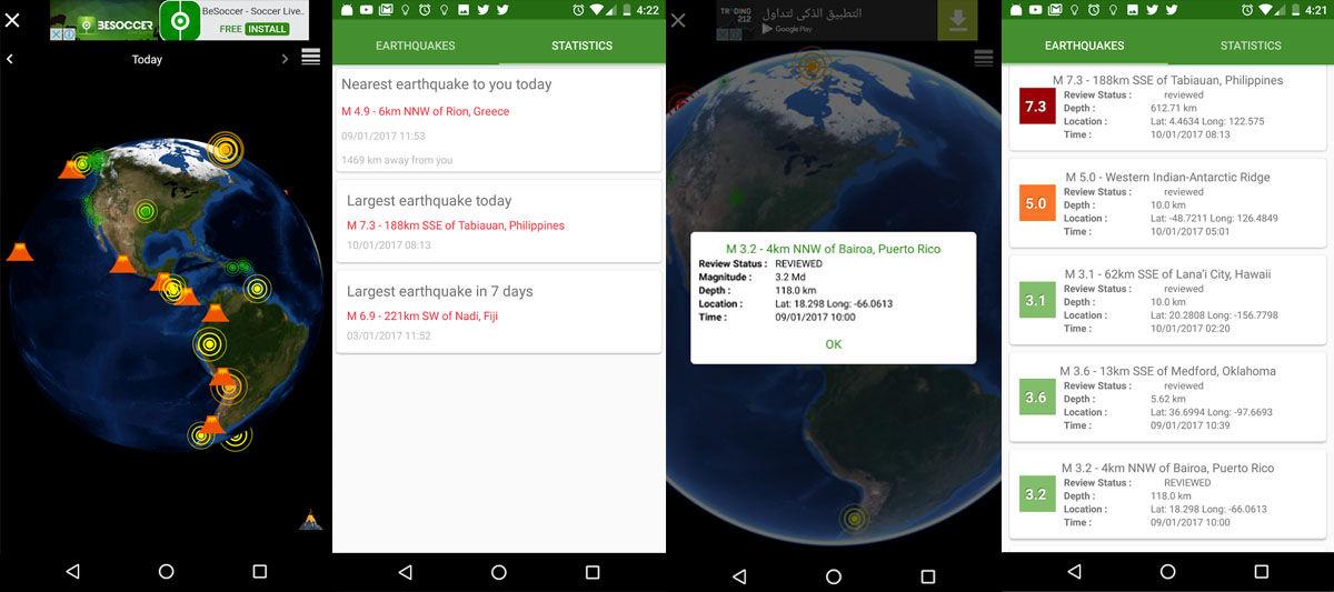 Apps de Android para detectar erupciones y explosiones volcánicas, terremotos y otros fenómenos naturales
