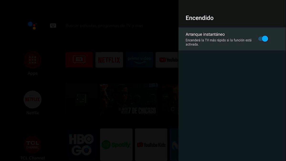 Arranque instantaneo Android TV