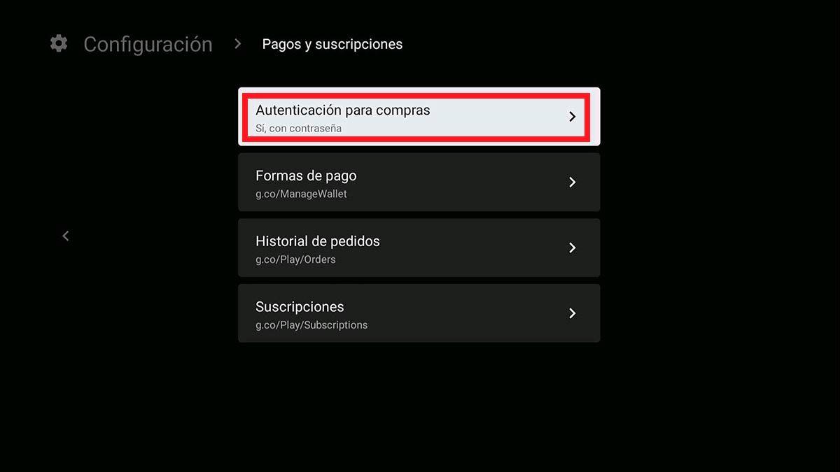 Autenticacion para compras Play Store Android TV