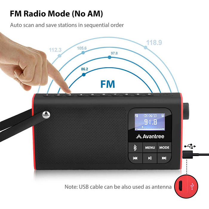 Avantree 3 en 1 altavoz Blutooth con radio fm