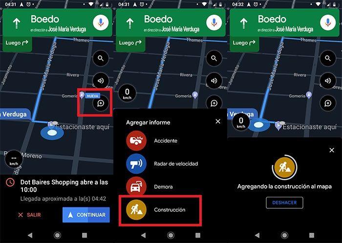 Avisar incidente en Google Maps