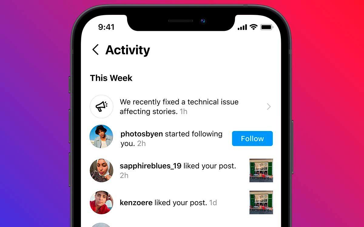 Aviso Instagram notifica fallos